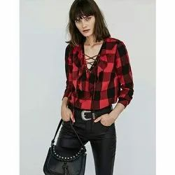 Red And Black Cotton Ladies Western Checked Top