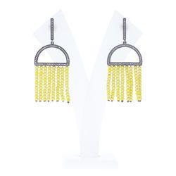 Yellow Bead Diamond Tassel Earrings