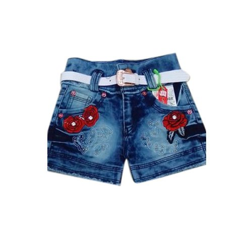 Girls Party Wear Denim Shorts, Age: 3-5 Years
