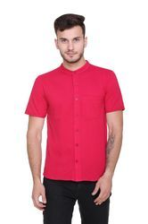 Pink Casual Wear Mandarin Shirt For Men, Size: S To XXL
