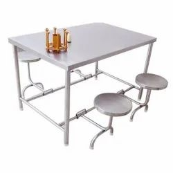 Rectangular Polished Stainless Steel Canteen Dining Table