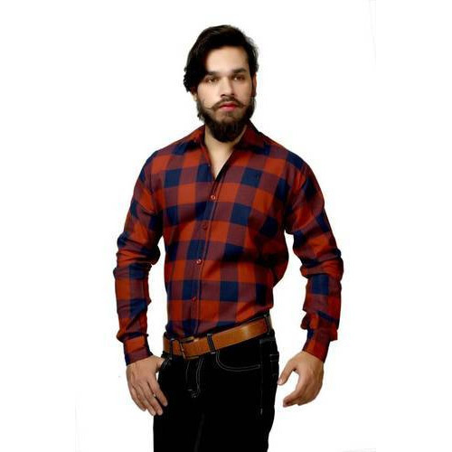 df8e9af8 Cotton Orange Navy Blue Checkered Casual Shirt, Rs 300 /piece | ID ...
