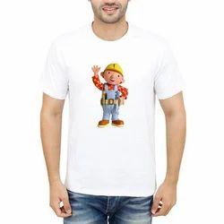 White Cotton Mens Half Sleeves T Shirt
