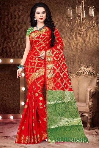 343efcced7a04 Soft Banarasi Silk Saree and Heavy Zari Rich Pallu with Heavy Blouse Piece