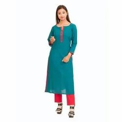 3/4th Sleeve Casual Wear Turquoise Blue Straight Cotton Kurti