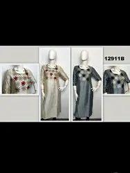 Flower Appliq Silk Embroidery Kurta