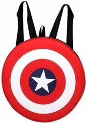 Unisex Captain America Round Polyester Bag with Thick Padding - 20 l Backpack