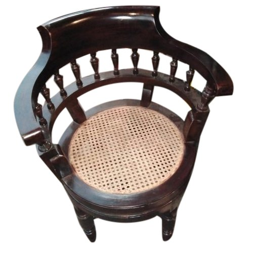 Brown European Wooden Round Chair