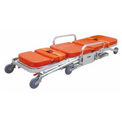 Orange Manual Ambulance Stretcher Trolley