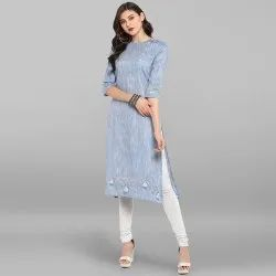 Light Blue Pure Cotton Kurta(JNE3225)