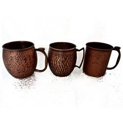 Smokey Finished Copper Hammered Mule Mugs