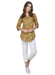 Brown Cotton Printed Long Top