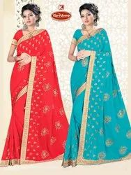 Dyed Georgette Heavy Embroidery work Saree with Lace - Four Point