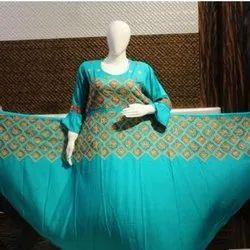 Round Neck Rayon Sky Blue Floral Designer Kurti, Size: 40-42 Inch, Wash Care: Handwash