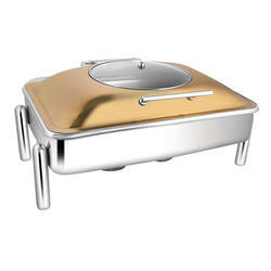 Rectangular Rose Gold Glass LID Chafer W Pipe Legs
