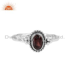 Natural Garnet Gemstone Sterling Silver Oxidized Ring