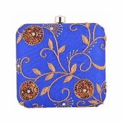 Azzra Women Designer Blue Zardosi Work Clutch
