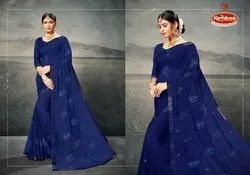 Dyed Chiffon Embroidery Work Saree  - Ranger