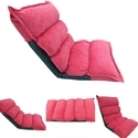 Floor Adjustable Back Rest Lounger - Single - Carrot Red