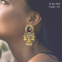Traditional Kundan Peacock Earrings