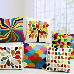 Colorful Jute Cushion Cover