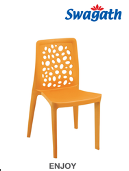 Brown Plastic Cafeteria Dining Chair, Length: 445 mm, Height: 815 mm