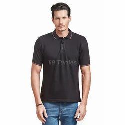 Men's Cotton Black Plain T Shirt, Size: S to XL
