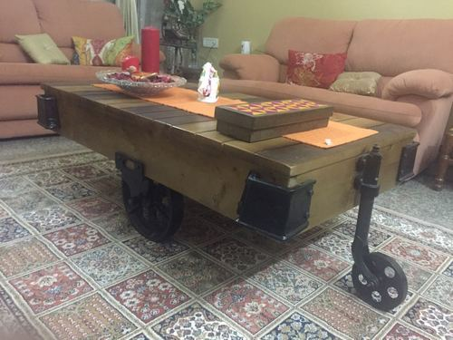 Wood Cast Iron Pine Reclaimed Cart Antique Coffee Table