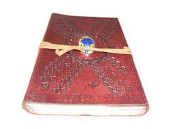 Embossed Binding  Leather Journal with Designer Stone