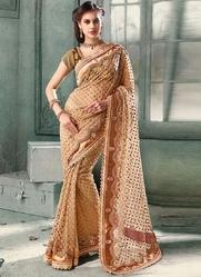 Party wear Embroidery Embroidered Saree, Packaging Type: Box, 5.2 m (separate blouse piece)