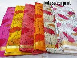 Kota Doria Printed Colorful Saree