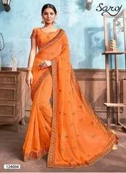 Elegant Fancy Party Wear Designer Border Saree