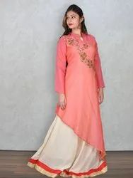 Pink & Off-White Muslin Embroidered 2pc Dress (Product No 4633)
