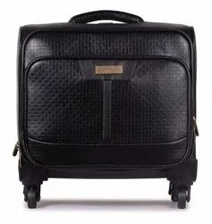 The Clownfish Checkers Unisex Faux Leather 44 LTR Black Laptop Roller Case