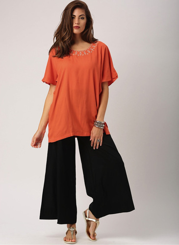 14c89d08723 Indusdiva Orange Tunic Tops Tunics For Women Thigh Length Tunic With  Dropped Shoulders And Embroidery Tunic