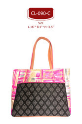 Pink &orange Cotton Foil Print Shopping Bag