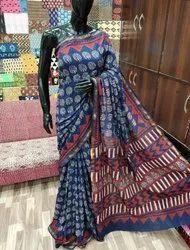 Pigment Printed Mulmul Cotton Saree