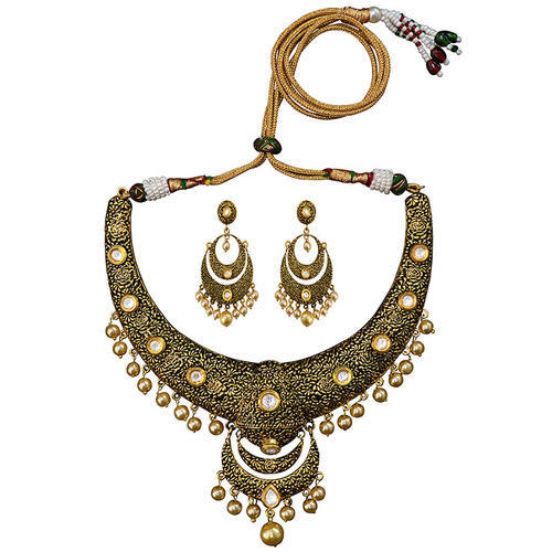 80deb84da Necklace - Meenakari Antique Gold Plated Hasli Necklace Earring Set ...