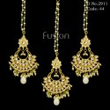Kundan Earrings Maang Tikka Combo Set