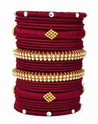 fancy Maroon Silk Thread Bangle