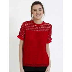 Cotton and Net Plain Ladies Half Sleeve Top
