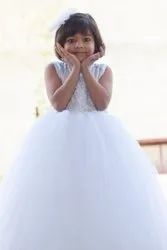 Net And Satin Party Wear Nia''s White Fairy Christian Gown, Age: 0-8 Year
