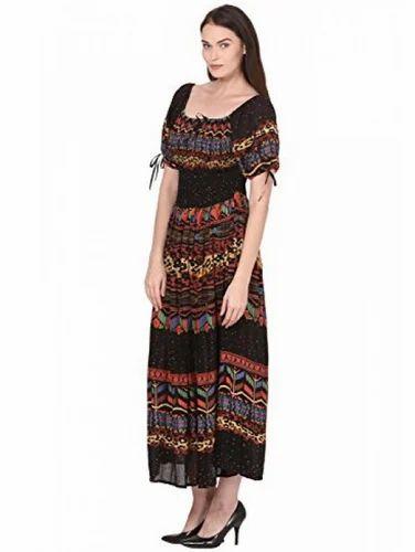 e44621b18b4 Multicolor Saadgi Rajasthani Digital Print Maxi Dress For Women - Pure Rayon