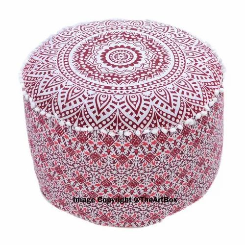 Incredible Ombre Mandala Decorative Ottoman Pouf Cover Footstool Round Floor Pouf Seating Pouf Ottoman Cover Gmtry Best Dining Table And Chair Ideas Images Gmtryco