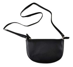 Plain Black Genuine Leather Messenger Bag