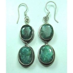 Natural Emerald 925 Sterling Silver Furnished Earrings