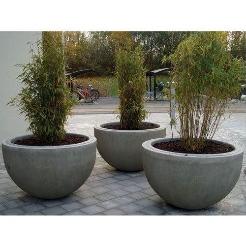grey round concrete flower pot rs 100 piece m s aver. Black Bedroom Furniture Sets. Home Design Ideas