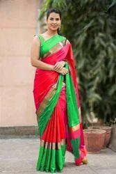Silk Plain Saree, Length: 6.3 m