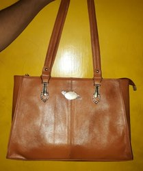 Brown Leather Handbag, Pure Leather: Yes