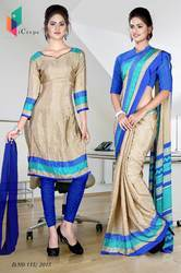 Golden and Blue Italian Crepe Uniform Saree Kurti Combo